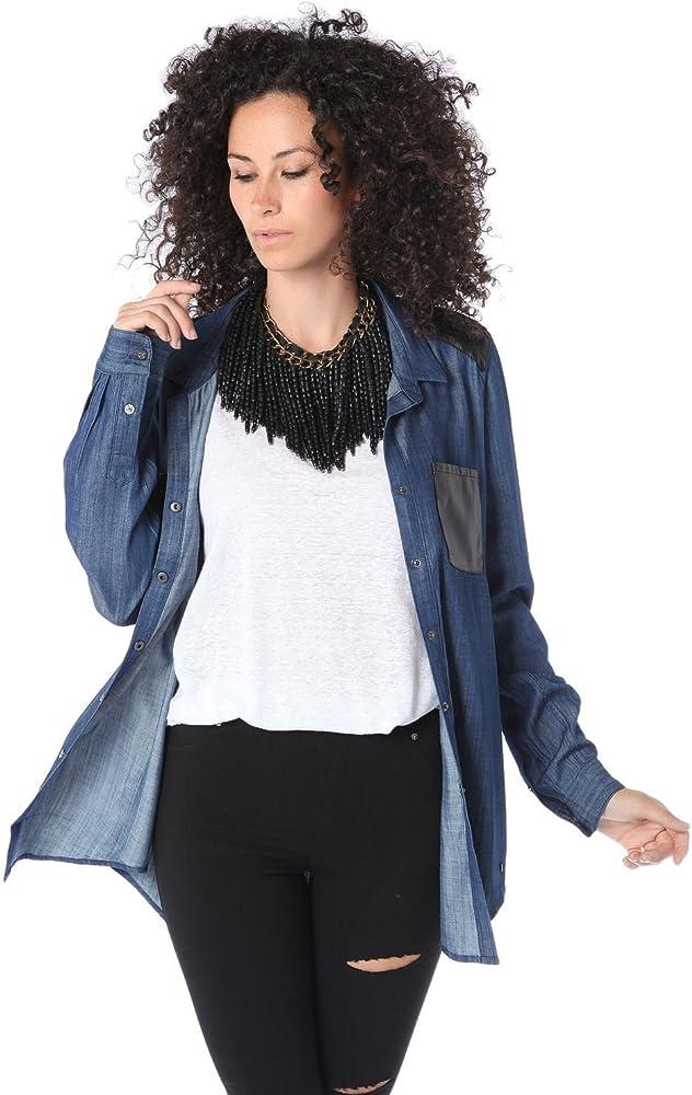 Q2 Mujer Camisa vaquera de tencel con bolsillo de efecto cuero - XS - Azul: Amazon.es: Ropa y accesorios