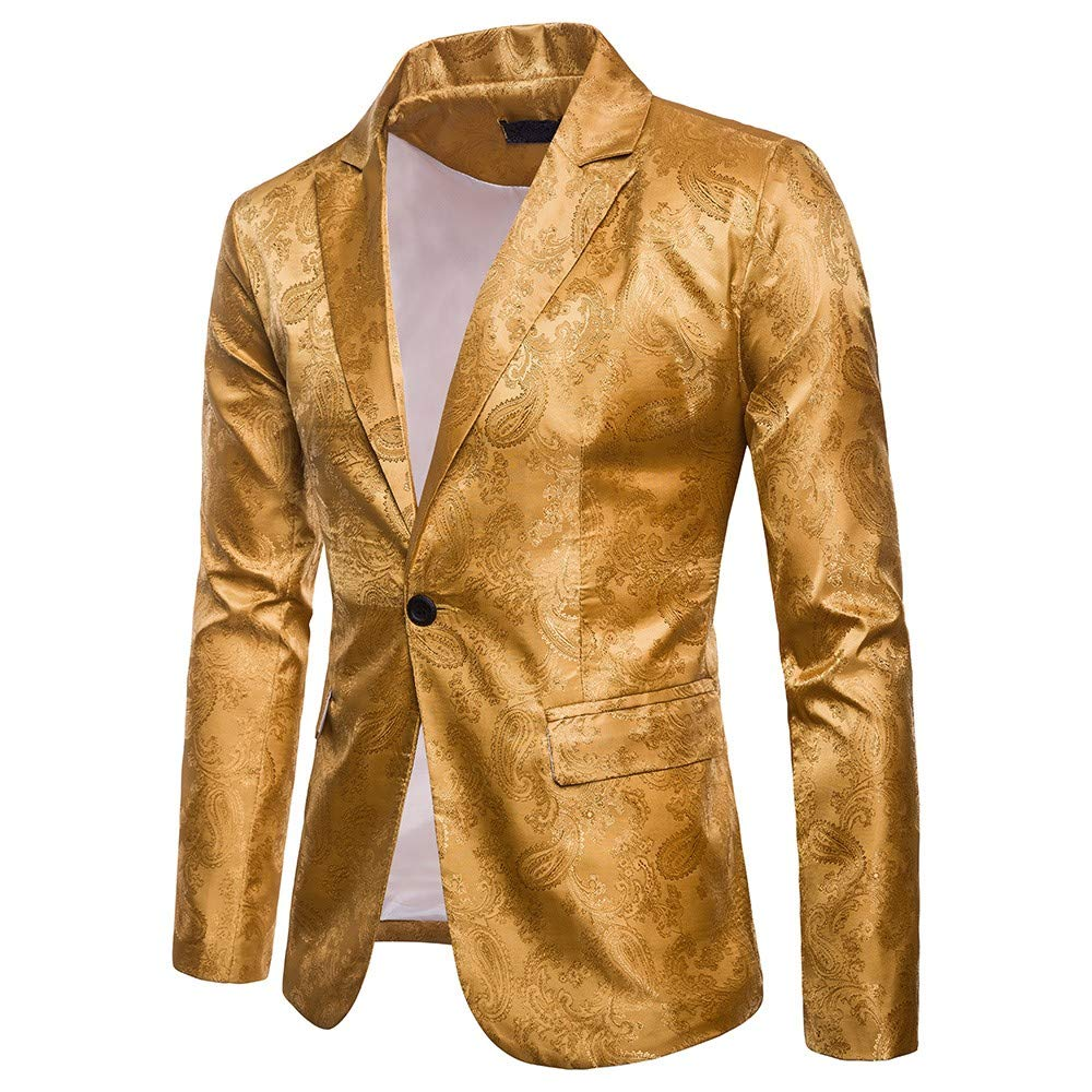 TAGGMY Men's Suit Jacket Slim Fit Formal Bussiness Long Sleeve Regular Fit Pattern Blazer Big and Tall Coat Top Yellow