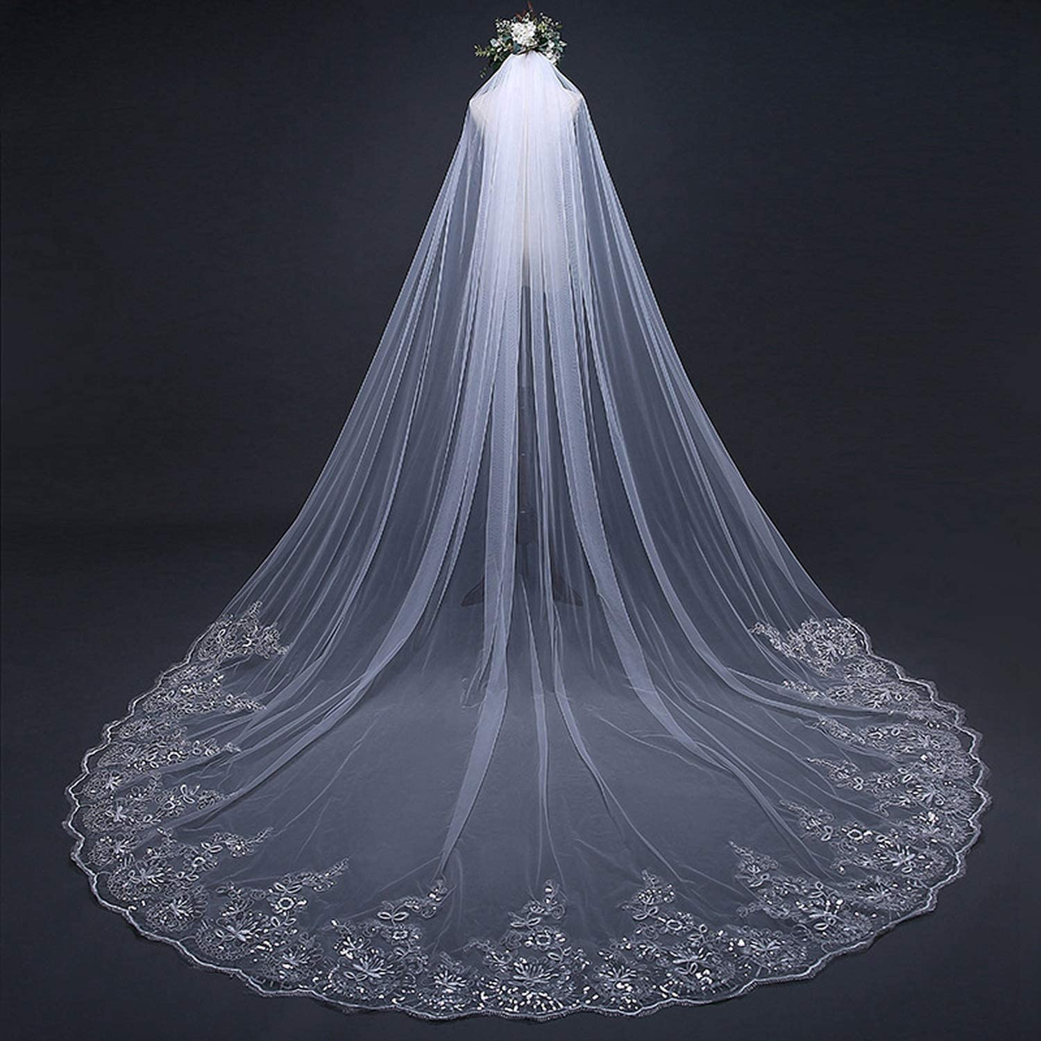 Lace Appliques White Ivory Cathedral Wedding Veils Long Lace Bridal Veil with Comb Wedding Accessories veils