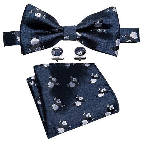 HYCZJH Corbata de Lazo Azul para Hombre con patrón de Panda para ...