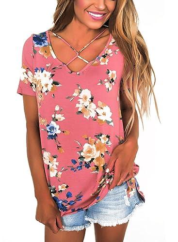Dokotoo Womens Casual Summer Floral Print Crisscross Cotton Blouses Tops T-Shirts