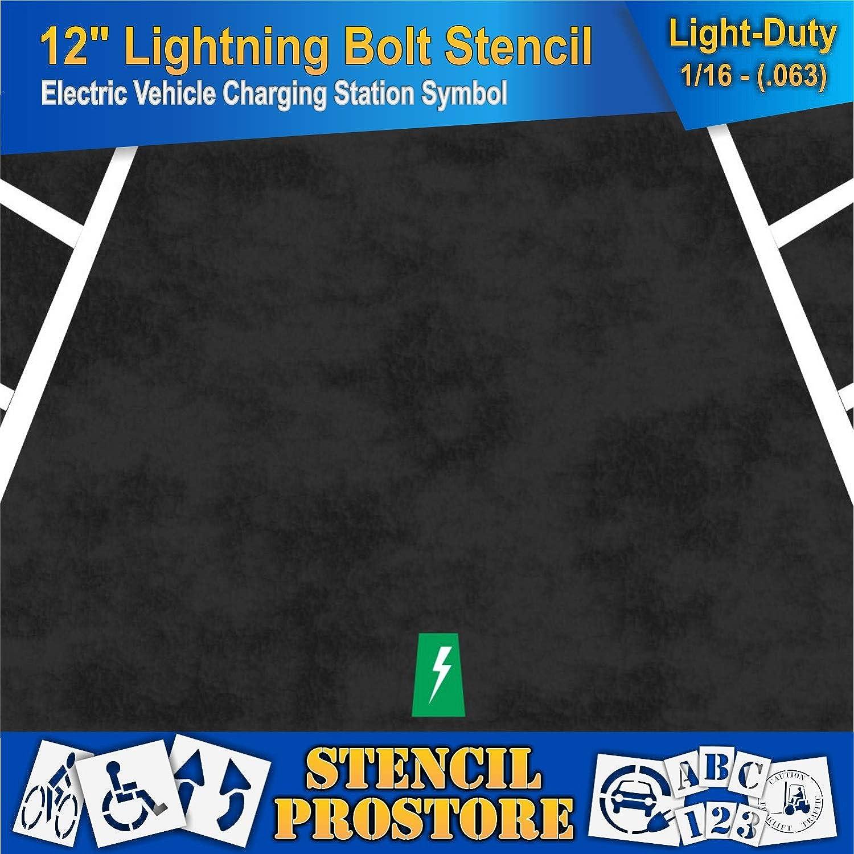 Electric Vehicle Lightning Bolt Stencil Pavement Stencils 63 mil 12 in 12 x 4 x 1//16 - Light-Duty