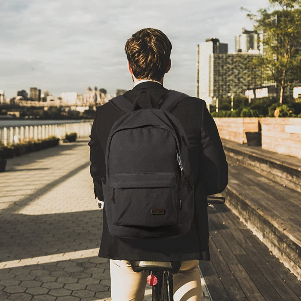CMXING Backpack Zaino Donna Uomo Scuola Canvas Zaino Unisex Vintage Zaino Tela Sportivo Fitness Viaggio Borsa Tela Zainetto Da Viaggio con Porta di Ricarica USB Zaini Zaino Casual Blu Nero