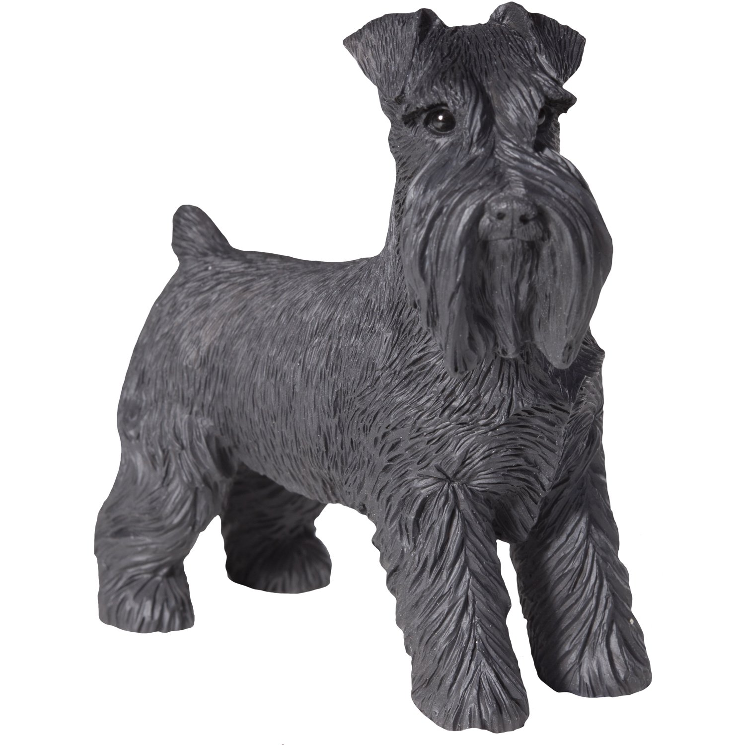 Sandicast Black Schnauzer with Uncropped Ears Sculpture, Standing, Small Size