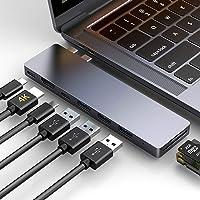 "HOTUCG USB C Hub 8 in 1, Thunderbolt 3 Hub USB C HDMI Adapter Slim Aluminium Hub für MacBook Pro 2018/2017/2016 13""&15"", MacBook Air 2018 13"", HDMI 4K, USB C 3.0 Anschlüsse, SD & TF Kartenleser, Grau"