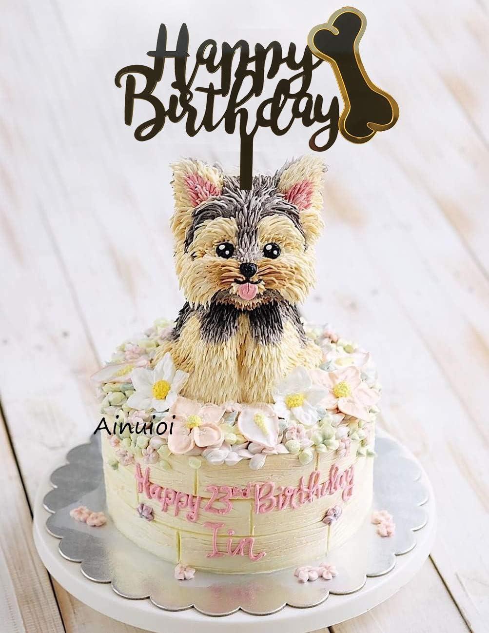 Swell Amazon Com Ainuioi Dog Birthday Cake Topper Dog Bone Happy Funny Birthday Cards Online Chimdamsfinfo