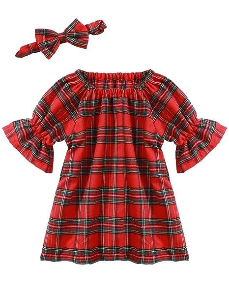 Amazon.com: Vestido de Navidad para niñas con diadema de ...
