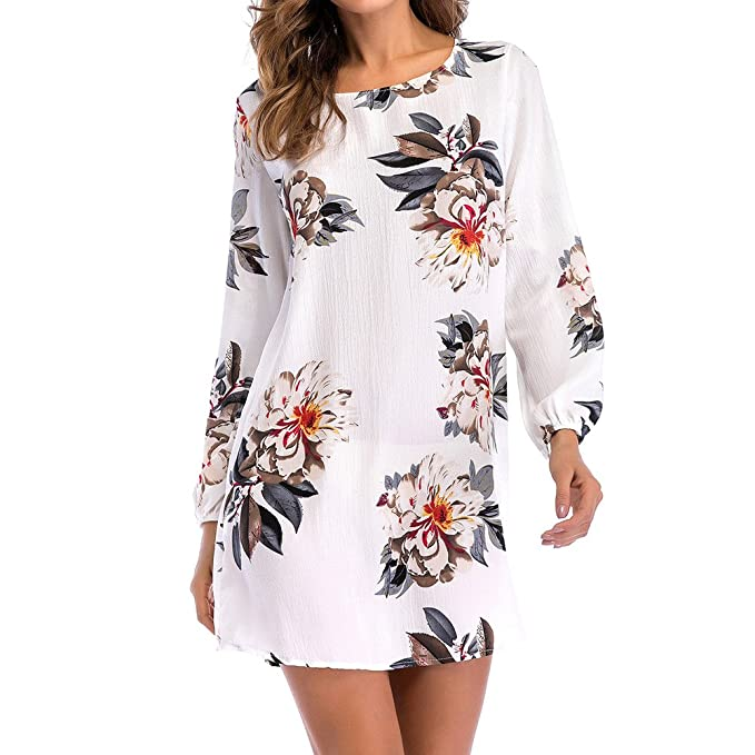 5081bdabc3a9e Mujer Floral Impresión Vestir Señoras Gasa Vestir playa Casual Corto  Vestidos Escotado por detrás Mini Vestir