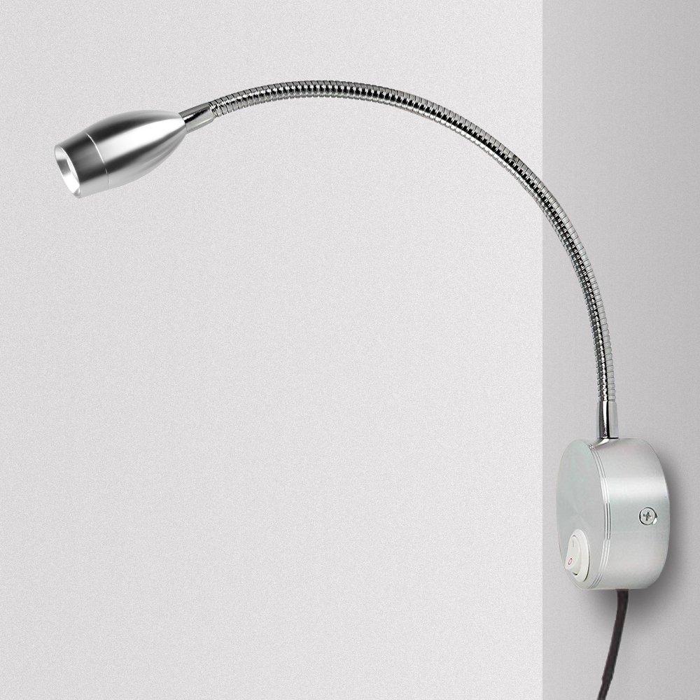 3W adjustable//1 Meanyee L/ámpara de lectura de pared luces de noche con interruptor t/áctil//regulable sin escalones//cable enchufable//cabecero//blanco c/álido 3000K