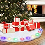 NASUM Christmas Tree Skirt with LED Light Plush Tree Skirt Christmas Light Decoration 48 Inch Round Skirts Made of Thick Xmas Holiday White Snow Luxury Faux Fur