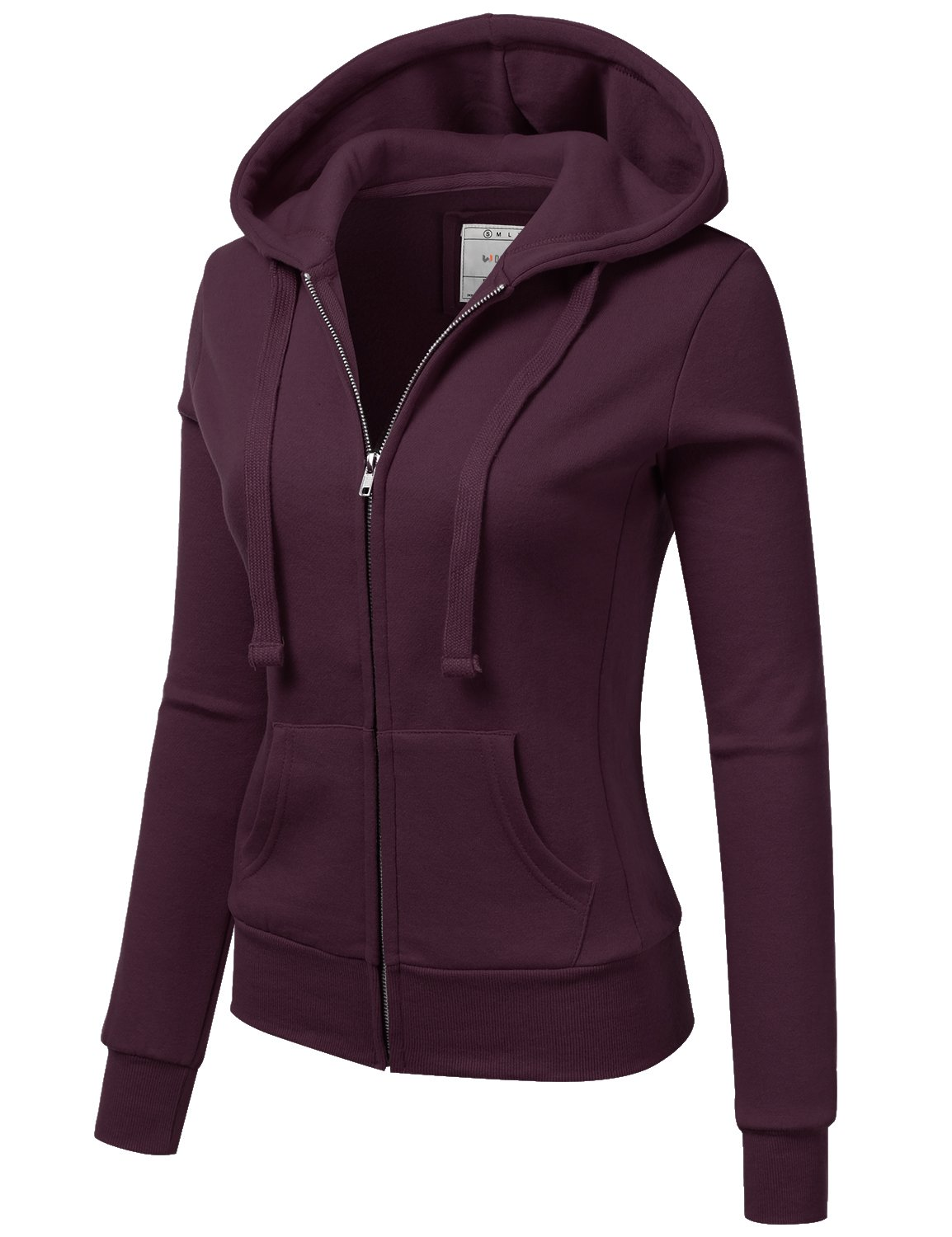 Doublju Lightweight Thin Zip-Up Hoodie Jacket for Women with Plus Size Plum Large by Doublju (Image #2)