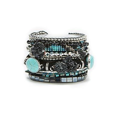 free shipping 3f298 11594 Gioielli - Hipanema - Manchette nera/blu in perline e pietre ...
