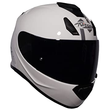 Nitro N3100 UNO - Casco integral para motocicleta, color blanco brillante + visera oscura