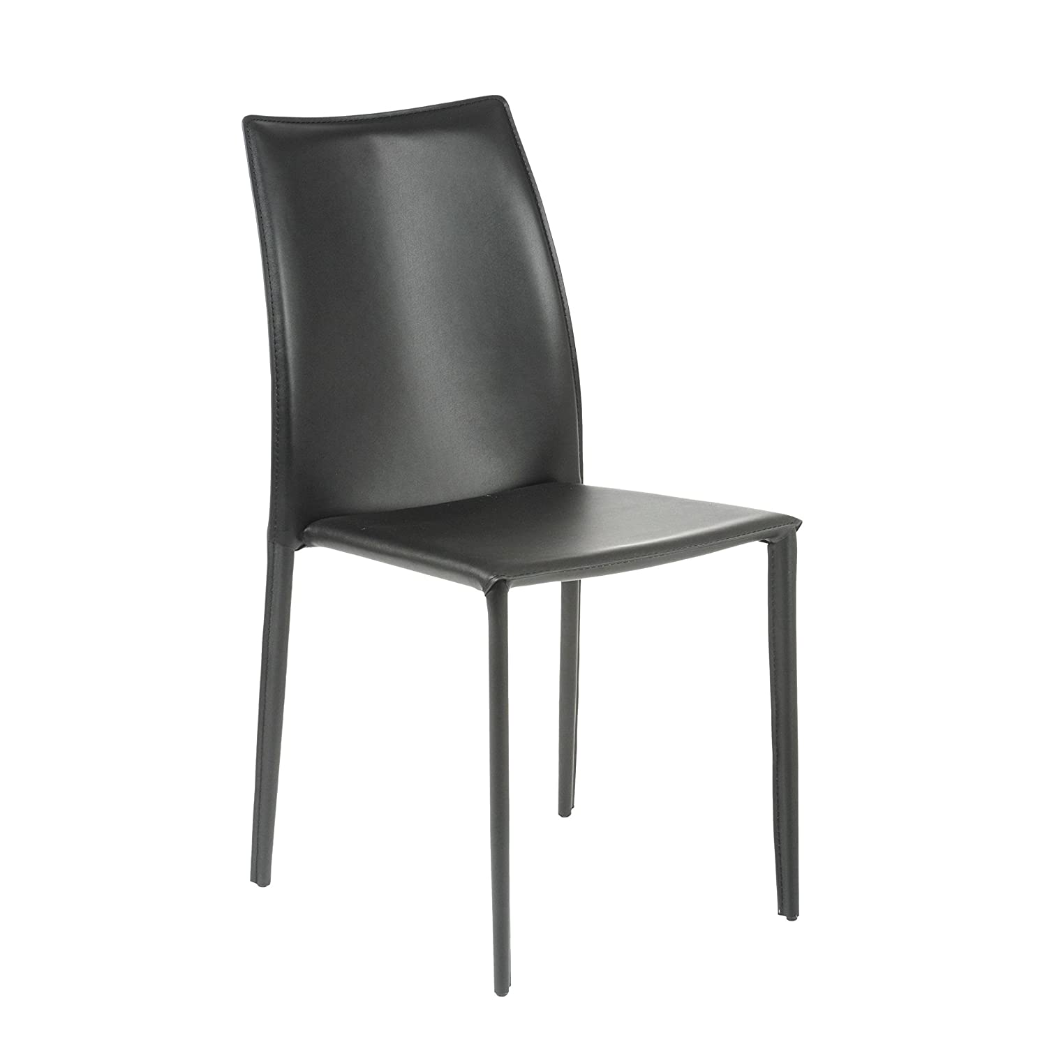 Amazon.com - Euro Style Dalia Leather Stackable Dining Side Chair ...