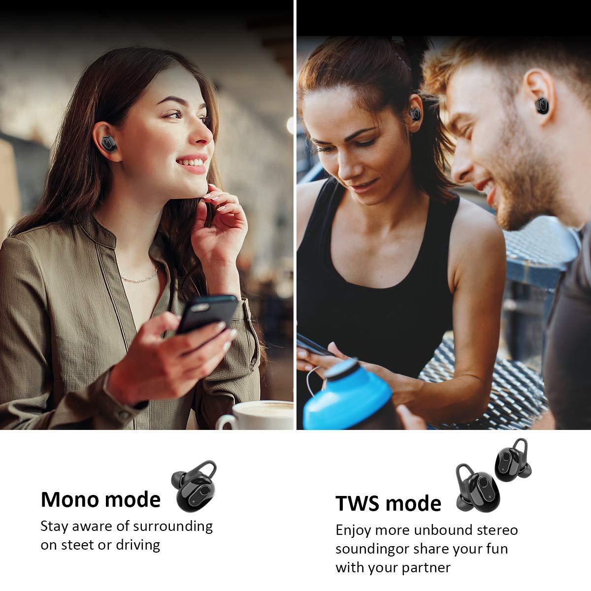 Bluetooth Kopfhörer TWS Bluetooth 5.0 In Ear Headset True Wireless Stereo Ohrhörer Sport Kabellose Earbuds mit 500 mAh Ladekasten und Integriertem Mikrofon für iPhone, Android und iPad