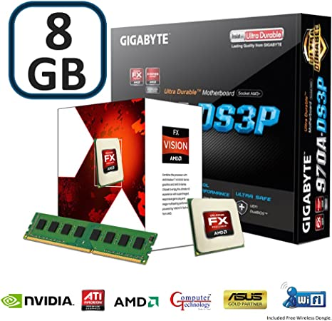 Computer Technology Home Office Or Gaming Upgrade Bundle Kit Gigabyte Ds3p Motherboard Processing Via An Amd Fx 4300 Quad Core Cpu Free Wifi Dongle Included 8gb Ddr3 Memory Amazon Co Uk Computers