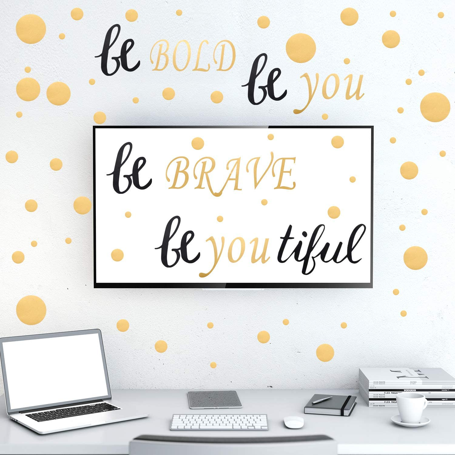 """9 Pieces Wall Decal with 6 Transfer Film, Inspirational Quote Stickers and Dot Sticker, Black and Gold Vinyl Decal Quotes Engraved with Letters""""Be Bold, Be Brave, Be Youtiful"""" DIY Wall Decoration"""