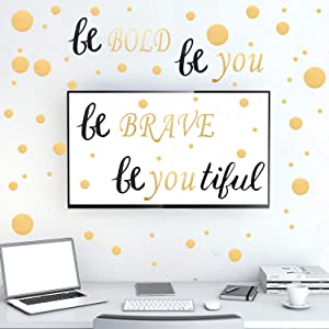"9 Pieces Wall Decal with 6 Transfer Film, Inspirational Quote Stickers and Dot Sticker, Black and Gold Vinyl Decal Quotes Engraved with Letters""Be Bold, Be Brave, Be Youtiful"" DIY Wall Decoration"