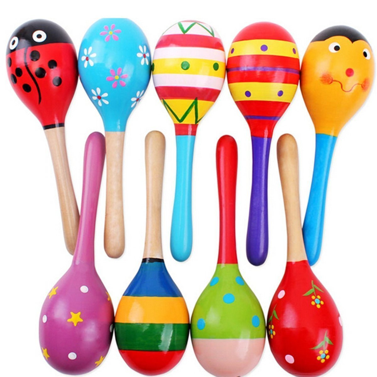 Woode Maraca Rattles Egg Shakers for Babies楽器子供ミュージカルおもちゃ ブラック 1224ALI B07BHQHKF5  5 Sand Hammer Toys