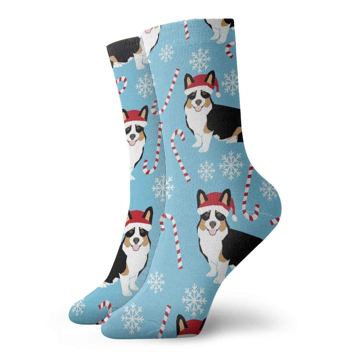 Corgi Walking Stick Candy Unisex Funny Casual Crew Socks Athletic Socks For Boys Girls Kids Teenagers
