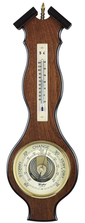Barómetro de madera - barómetro de pared de roble Vaneer madera de caoba con texto en inglés de pared con termómetro y tradicional con forma de.