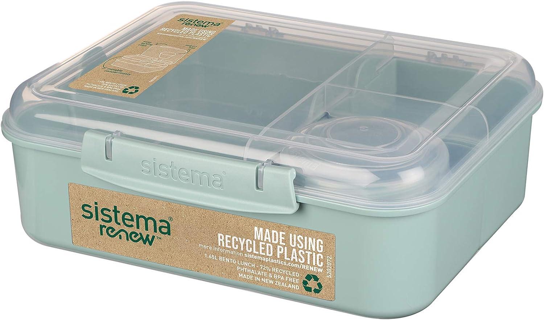 1.65lt Sistema Renew Bento Lunch Box Polypropylene Blue//Blue
