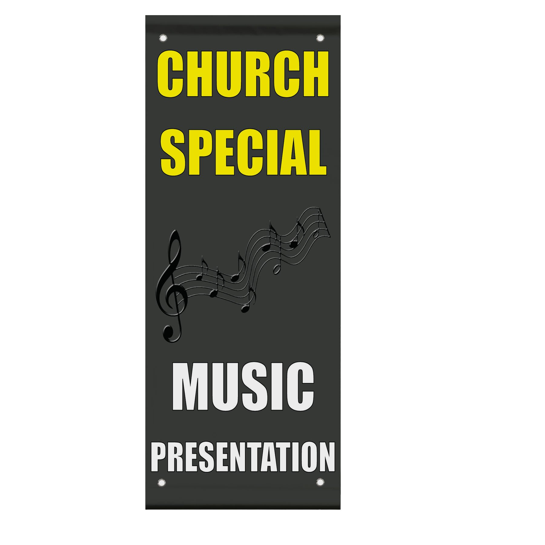 Church Special Music Presentation Double Sided Vertical Pole Banner Sign 24 in x 36 in w/ Wall Bracket by Fastasticdeals