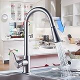 Auralum 360° Miscelatore cucina miscelatore rubinetto flessibile estraibile del lavandino con doccetta per cucina in ottone