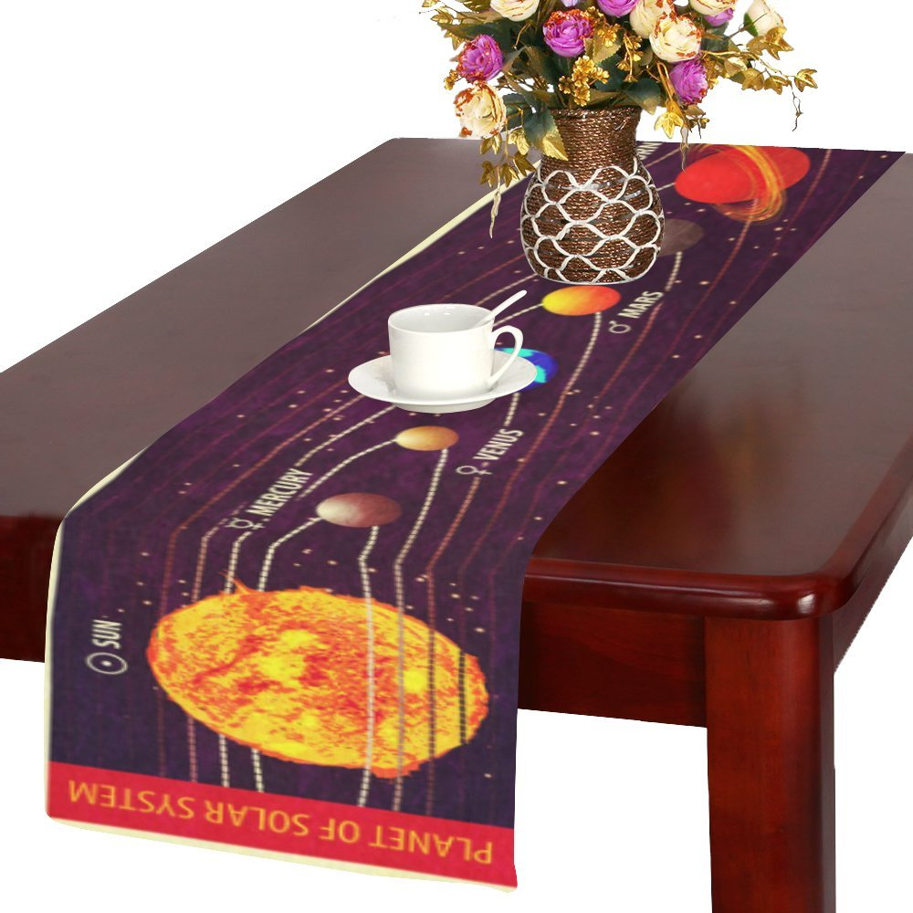 Artsadd Solar System Planets Kitchen Dining Table Runner 14x72 inch For Dinner Parties, Events, Decor