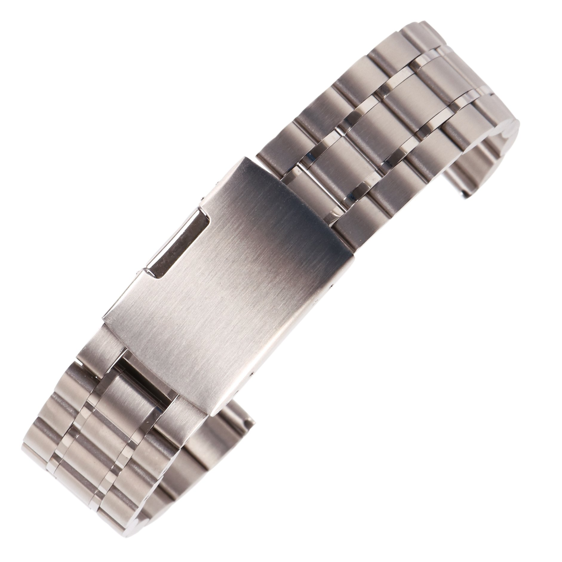 23mm Anti Allergic SS Watch Strap Wristband for Men Silver Solid INOX Steel Brushed Finish Straight End