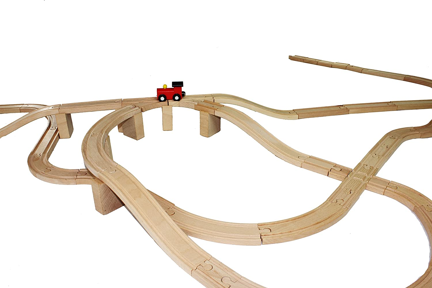 62 Pieces Wooden Train Track Expansion Set NEW Version Compatible with All Major Brands Including Thomas Battery Operated Motorized Ones by Joyin Toy Joyin Inc 1 Bonus Toy Train