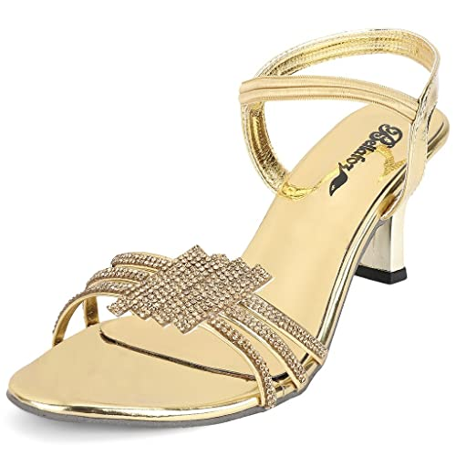 ac244f2ab7c Bellafoz Women s Golden Low Stiletto Heel Fashion Sandal  Buy Online ...