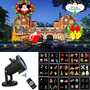Fovely Christmas Snowflake Projector Lights,Xmas LED Outdoor Projectors Lighting,16 Patterns Rotating Snowfall LED Light Projector Festival Outdoor Decor for Holiday, Party, Wedding, Garden, Patio