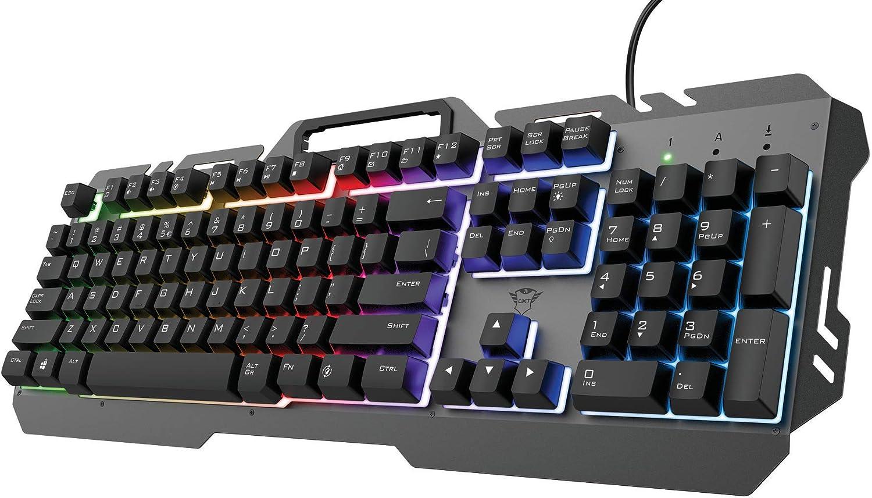 Trust Gaming Teclado Gamer GXT 853 ESCA Teclado Retroiluminado Metálico con LED RGB Efecto Arco Iris, Membrana, Disposición QWERTY Español, USB, con Cable, PC/Ordenador