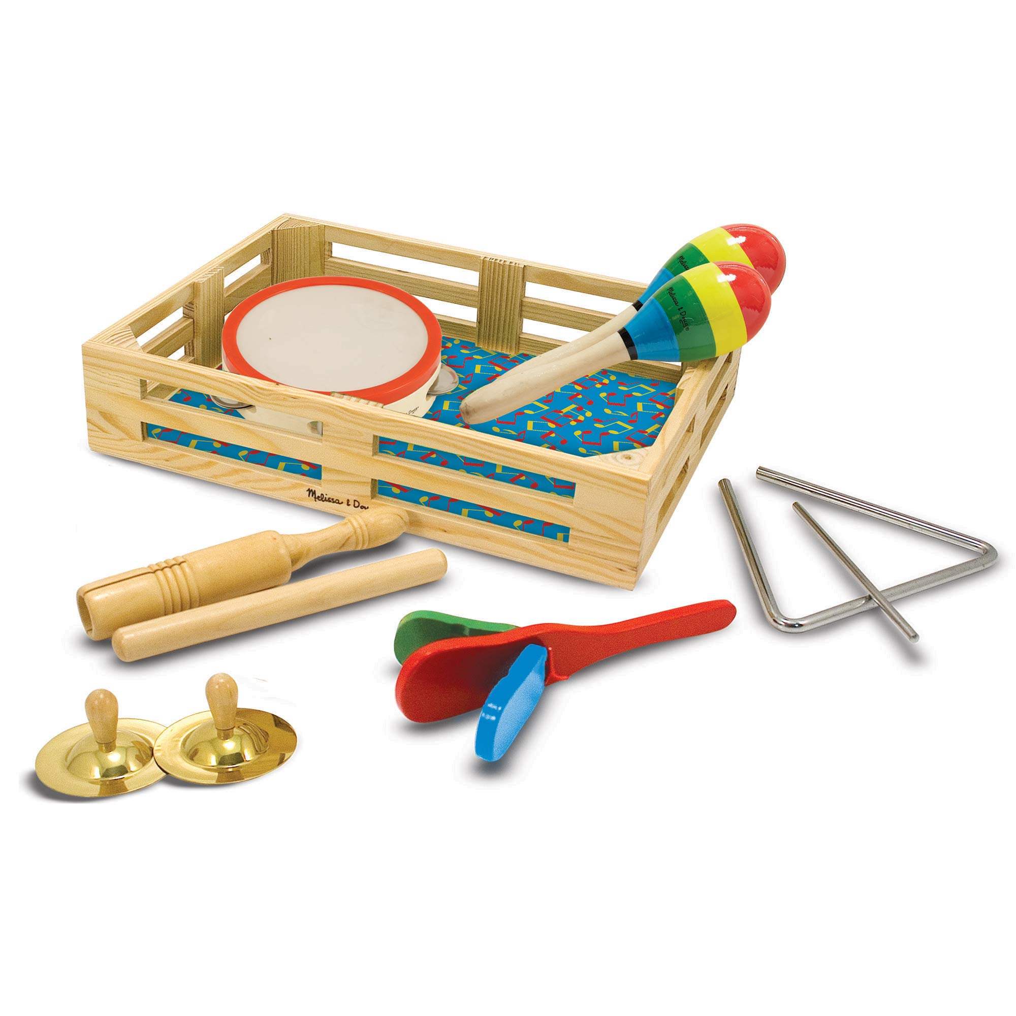 """Melissa & Doug Band-in-a-Box Clap! Clang! Tap! Musical Instruments (Various Instruments, Wooden Storage Crate, 10-Piece Set, 3"""" H x 11.3"""" W x 14.9"""" L)"""