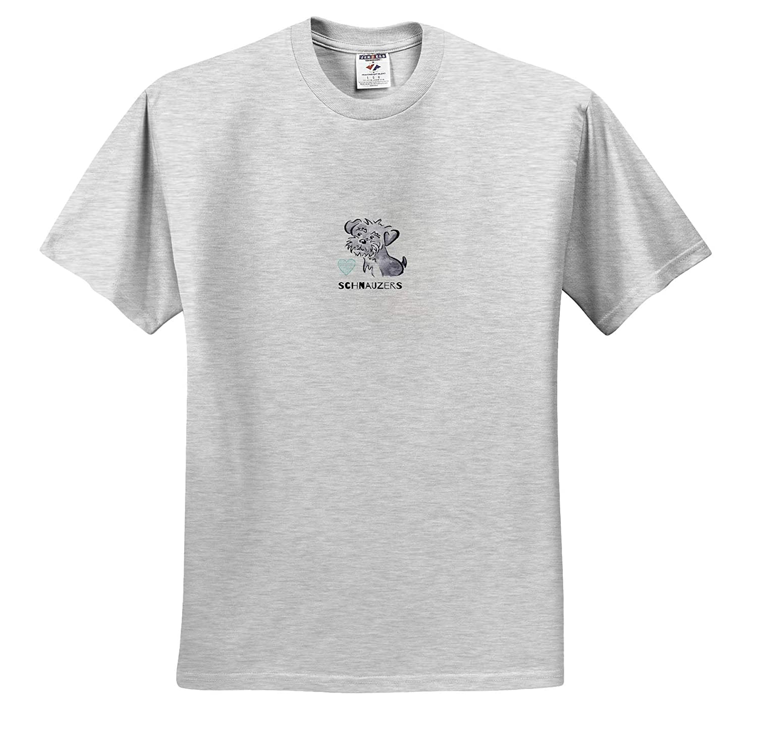 Illustrations Watercolor 3dRose Art by Mandy Joy - T-Shirts A Cute Cartoon of a Schnauzer Puppy with Typography
