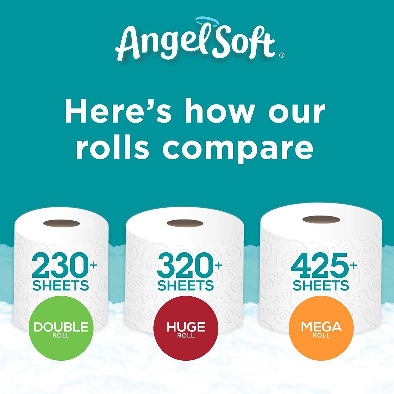 Angel Soft Papel Higiénico 60 Rollos Dobles 60 120 Rollos Regulares Papel Higiénico De Baño 12 Rollos Paquete De 5 Health Personal Care