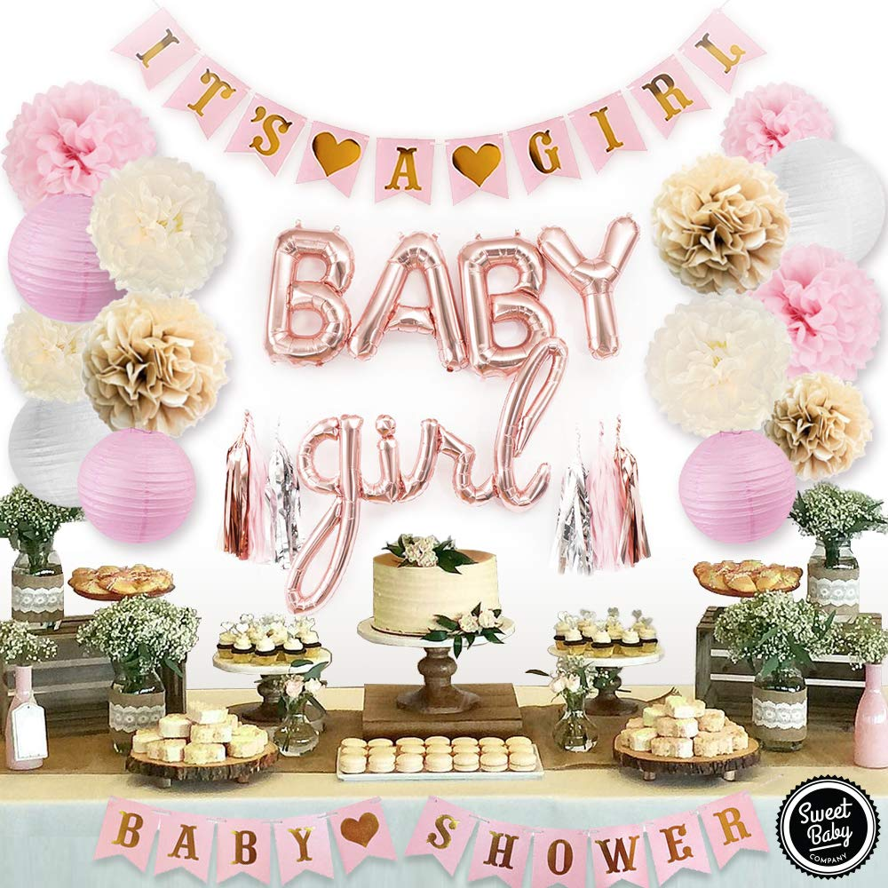 Sweet Baby Co. Pink Baby Shower Decorations For Girl With It's A Girl Banner, Baby Girl Foil Letter Balloons, Flower Pom Poms, Paper Lanterns, Tassels (Rose Gold, Pink, Ivory, Taupe, White)   Baby Shower Decorations Set