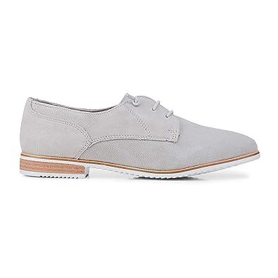 Damen Schuh In Leder OptikDerby Cox Schnürer Klassik Grau D9IWE2HY