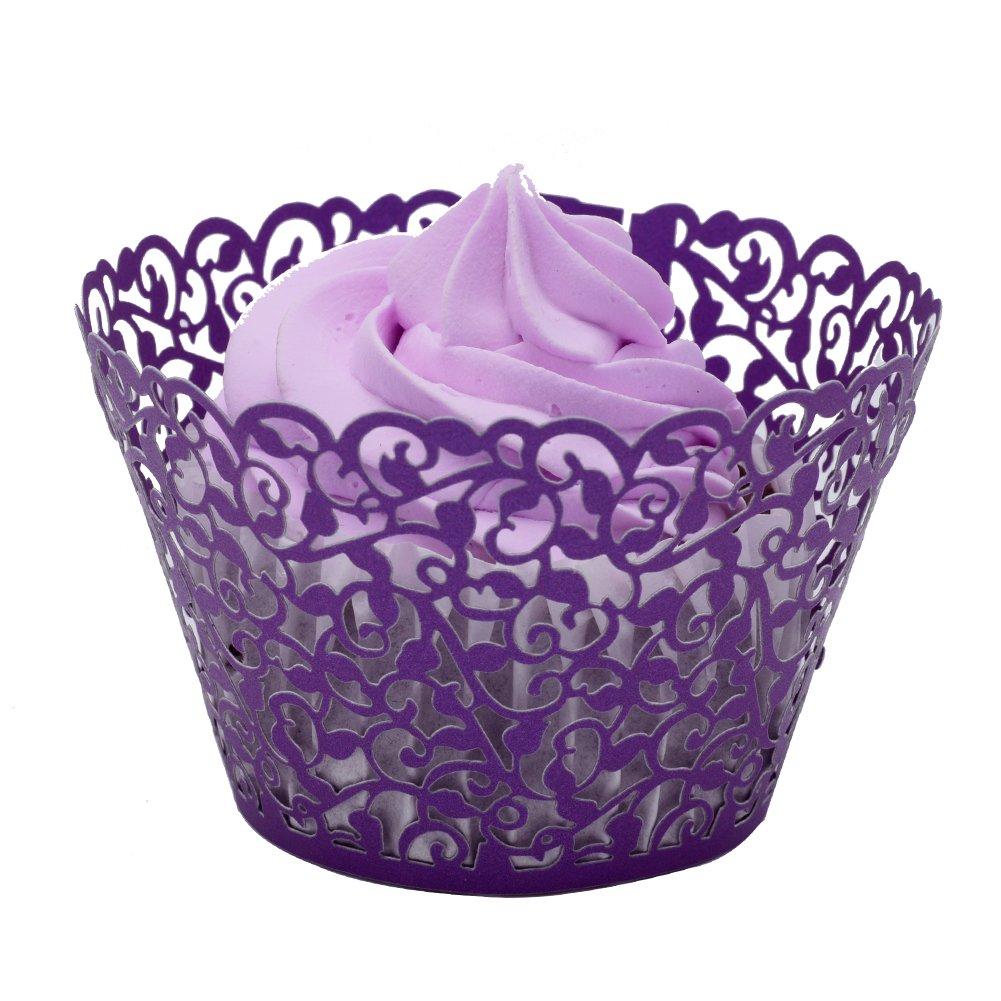 BETOP HOUSE Vine Lace 50-Piece Cupcake Wrappers, Purple