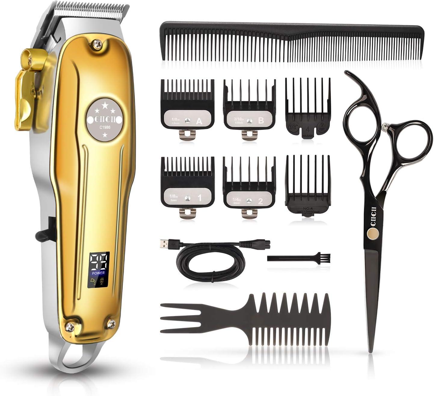 Cortadora de pelo sin cable para hombres, CIICII Juego de cortadora de pelo profesional (12 Pcs U...
