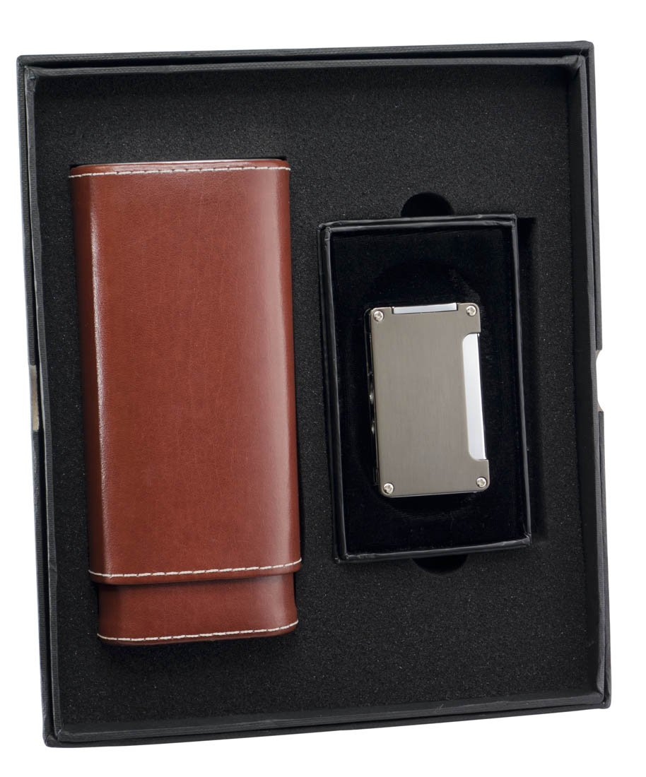 Visol ''Lone Star'' and ''Zidane'' Cigar Case and Lighter Gift Set