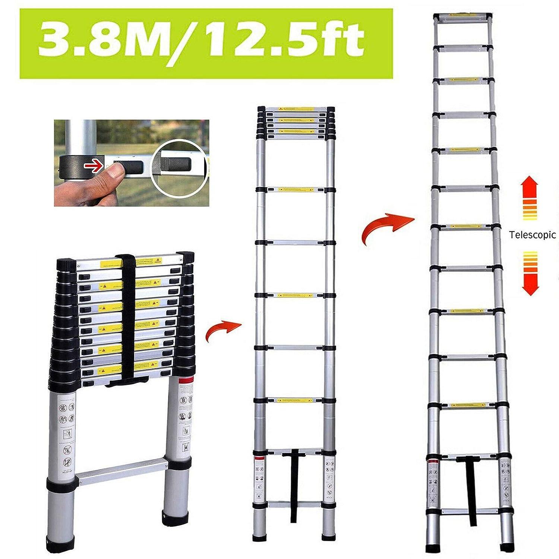 Teleskopleiter zusammenklappbar rutschfest 150 kg maximale Belastung Aluminium gerade 3,8 m strapazierf/ähig Sicherheitsverriegelung f/ür drinnen und drau/ßen
