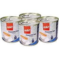 Al Khair Evaporated Milk 170g - Unsweetened Creamy Canned Milk for Desserts, Salads, Tea, Coffee - 4pcs