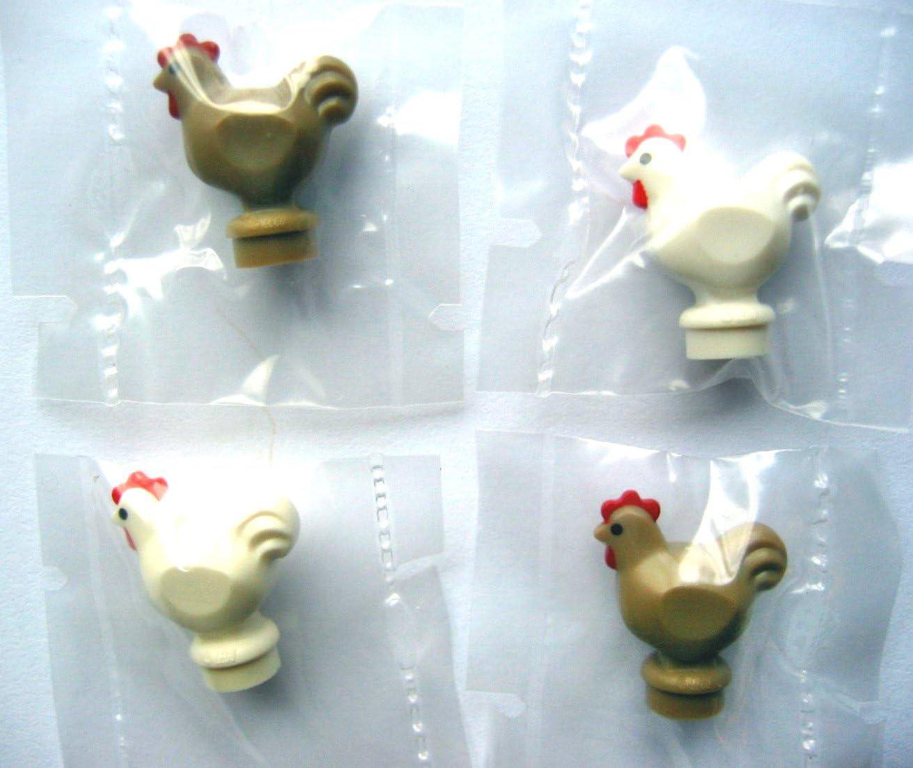 LEGO®City – 4 muy difíciles Gallinas – Por 2 en Blanco y beige oscuro – Mini Figuras Gallo y gallina – Gallina: Amazon.es: Juguetes y juegos