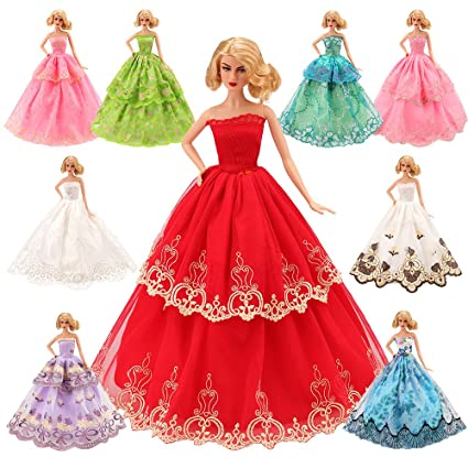 bb0116bc9cf Amazon.com  BARWA 5 Pcs Handmade Doll Clothes Wedding Gowns Party Dresses  for 11.5 inch Dolls  Toys   Games