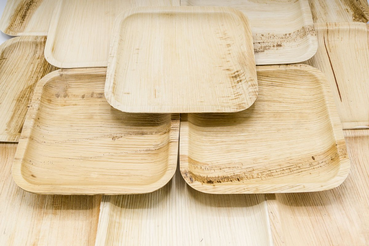 Party Pack of 150 Eco-Friendly Dinnerware - 50 Disposable 8'' Square Palm Leaf Plates, 50 Wood Forks, 50 Wood Knives by Ecodesign Disposables (Image #3)
