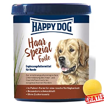 Happy Dog pelo especial Forte hdhs + Ball gratis para cabello, piel, cambio de