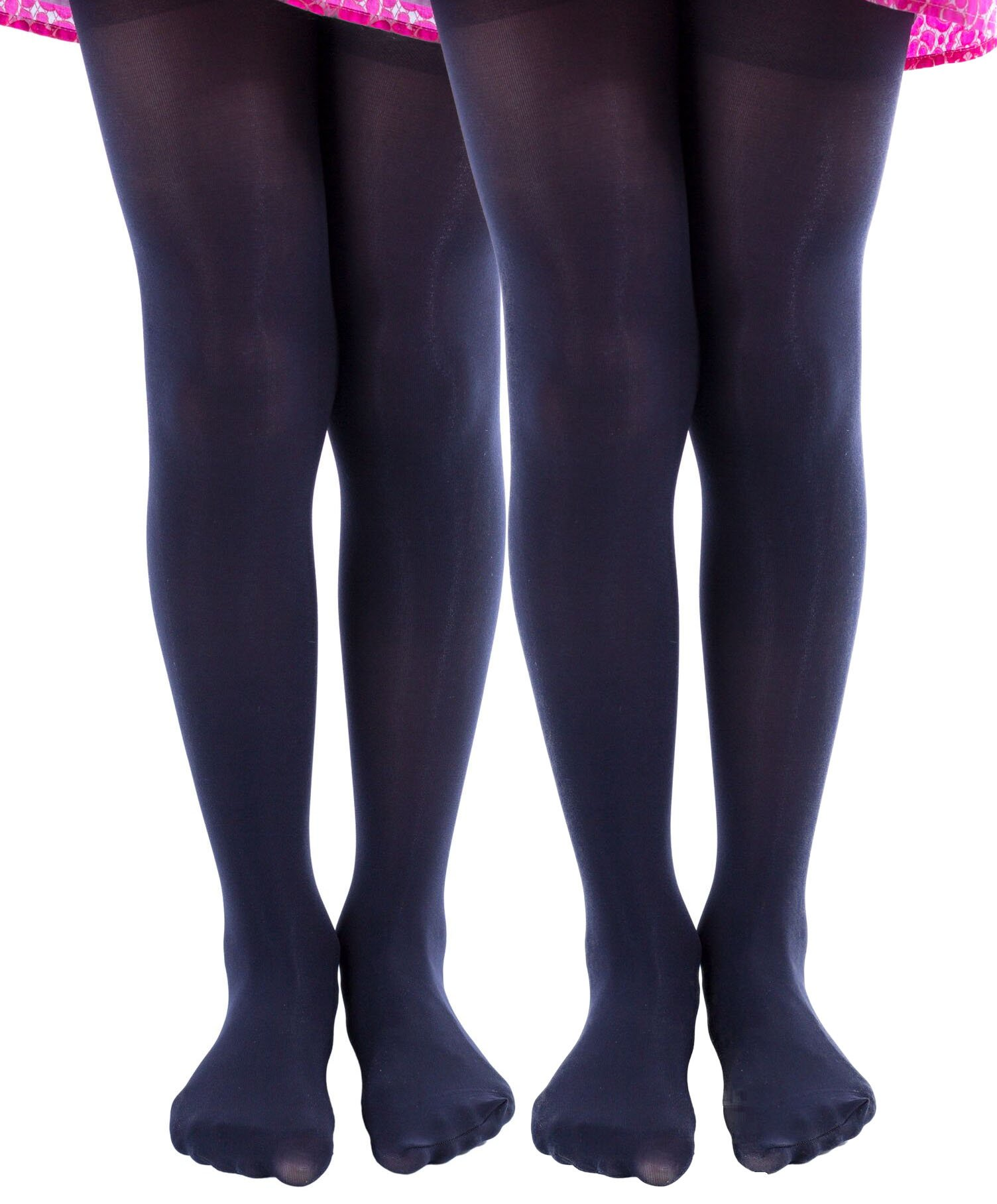 2 Pairs of Mod & Tone Girls Microfiber Opaque Tights