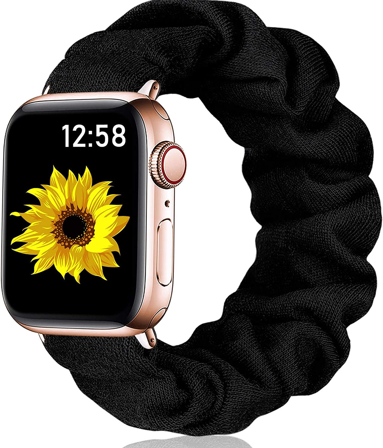 Henva Scrunchies Band Compatible with Apple Watch SE Series 6/5 44mm for Women Grils, Soft Elastic Scrunchy Floral Wristbands Replacement for iWatch 42mm Series 3/2/1, Black, S/M
